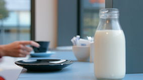 Friends having coffee together in cafe stock footage