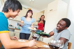 Friends Having A Dinner Party royalty free stock photos