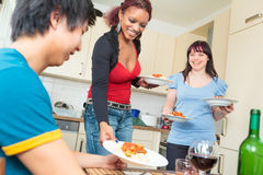 Friends Having A Dinner Party Stock Photography