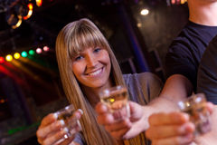 Friends having a drink. In a disco Stock Photography