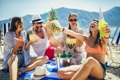 Free Friends Having Fun At The Beach On A Sunny Day. Party Time Stock Images - 212769184