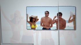 Friends having fun on beach stock video footage