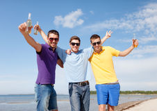 Friends having fun on beach with bottles of beer. Summer, holidays, vacation, happy people concept - group of friends having fun on the beach with bottles of Royalty Free Stock Image