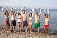 Friends having fun on the beach Stock Image
