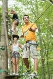 Friends having fun climbing in trees. Friends having fun climbing in the trees royalty free stock image