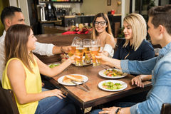 Friends having fun and drinking beer Stock Photo