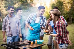 Friends enjoying bbq party stock photo