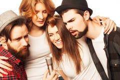 Friends  having fun at karaoke Stock Photo