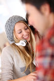 Friends having fun listening to music Stock Images