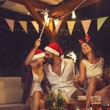 Friends at a New Year`s party royalty free stock images