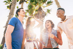 Friends having fun outdoors Royalty Free Stock Photos