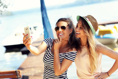 Friends having fun outdoors in summer Stock Photography