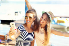 Friends having fun outdoors in summer Stock Images