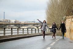Friends having fun in Paris Stock Photography
