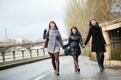 Friends having fun in Paris Royalty Free Stock Image