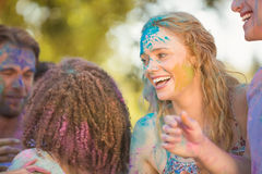 Friends having fun with powder paint Royalty Free Stock Photo
