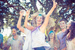 Friends having fun with powder paint Royalty Free Stock Image