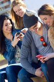 Friends having fun with smartphones Stock Photos
