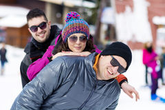 Friends having fun in the winter mountain.Winter fun Stock Image