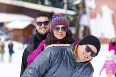 friends having fun in the winter mountain.Winter fun Royalty Free Stock Image