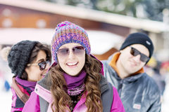 Friends having fun in the winter mountain.Winter fun Royalty Free Stock Photography