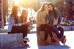 Friends Having Fun With Smartphones Royalty Free Stock Photo