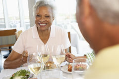 Friends Having Lunch At A Restaurant. Riends Having Lunch Together At A Restaurant stock photo