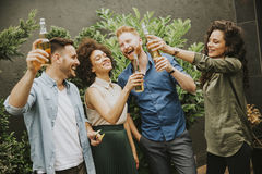 Friends having outdoor garden party toast with alcoholic cider d. Group of friends having outdoor garden party toast with alcoholic cider drinks Royalty Free Stock Photos