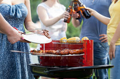 Friends having party with barbecue stock photos