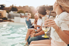 Friends having partying on rooftop Royalty Free Stock Photos