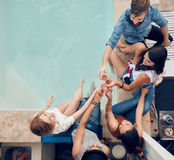 Friends having partying on rooftop Royalty Free Stock Image