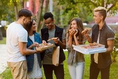 Friends having a pizza party royalty free stock image