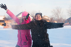 Friends having a selfie on the snow Stock Photo
