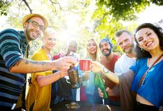 Friends having a summer party royalty free stock images