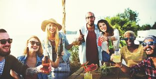 Friends having a summer party stock photo