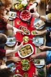 Friends having xmas dinner stock photo