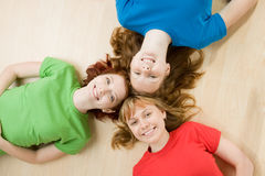 Friends heads together Stock Photo