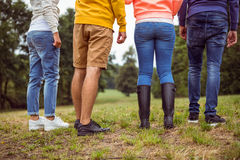 Friends on a hike together Stock Images