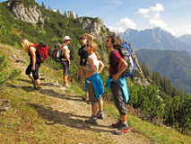 Friends hiking in mountains. Group of friends enjoying the view while hiking in the mountains. National park Gesause in Austria royalty free stock photo