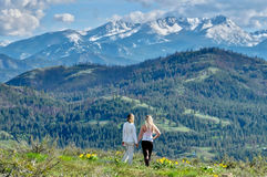 Friends hiking in mountains. Stock Photo