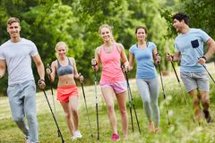 Friends hiking with persistence. And making a nordic walk Royalty Free Stock Photography