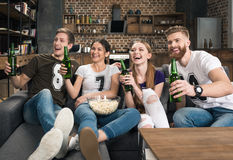 Friends holding beer bottles. Cheerful young friends holding beer bottles and looking away at home Royalty Free Stock Photos