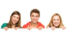 Friends Holding Blank Poster Royalty Free Stock Image