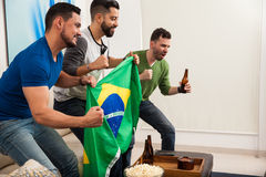 Friends holding a brazilian flag. Profile view of a group of male friends drinking beer and watching the Brazil olympics at home royalty free stock photography