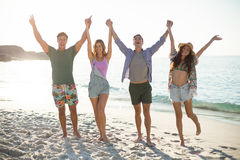 Friends holding hands with arms raised on shore at beach Stock Image