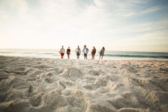 Friends holding surfboard on the beach Royalty Free Stock Image