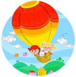 Friends on hot air balloon. Two cute children and a white bunny flying with hot air balloon. Digital circle illustration for little kids Stock Photo