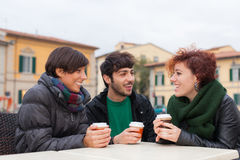 Friends with Hot Drink Royalty Free Stock Photography