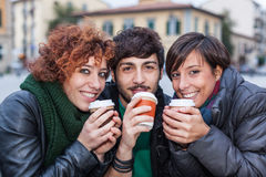Friends with Hot Drink Royalty Free Stock Photo
