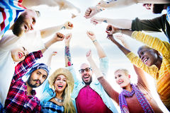 Friends Huddle Join Holiday Party Group Concept Royalty Free Stock Photo